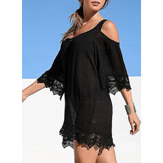 Lace/Solid 3/4 Sleeves Shift Above Knee Little Black/Casual/Vacation Tunic Dresses