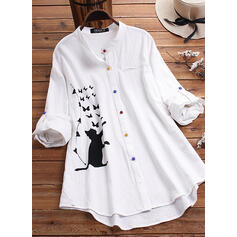 Print Band Collar Long Sleeves Button Up Casual Knit Blouses