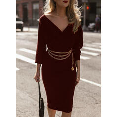 Solid Long Sleeves Bodycon Knee Length Little Black/Casual/Elegant Pencil Dresses