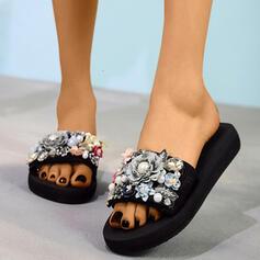 Femmes Tissu Talon plat Chaussons avec Perle d'imitation Une fleur chaussures