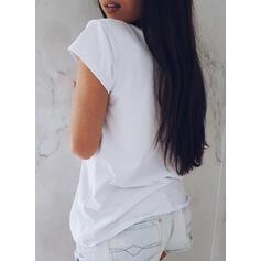 Print Round Neck Short Sleeves T-shirts