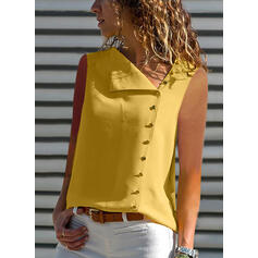 Solid Lapel Sleeveless Button Up Casual Blouses