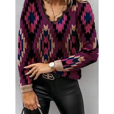 Nadruk Koronka V-nyak Hétköznapokra πουλόβερ