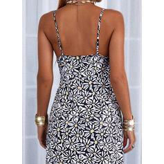 Impresión/Floral/Escotado por detrás Sin mangas Cubierta Camisón Casual Midi Vestidos