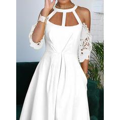 Lace/Solid Cold Shoulder Sleeve A-line Casual/Elegant Midi Dresses