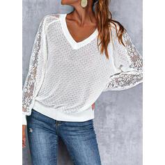 Einfarbig Spitze V-Ausschnitt Lässige Kleidung Pullover