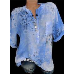 Floreale Scollatura a V Maniche a 3/4 Bottone Casuale Elegante Camicie