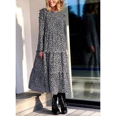 印刷 長袖 シフトドレス カジュアル マキシ ドレス