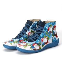 Жіночі ПУ Низька підошва Бокові черевики з Блискавка Зашнурувати взуття