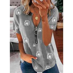 Print Paardebloem V-hals Korte Mouwen Casual Overhemd
