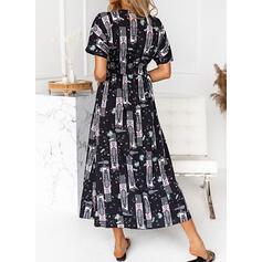 Druck Kurze Ärmel A-Linien-Kleid Lässige Kleidung Midi Kleider