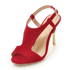 Women's Suede Stiletto Heel Sandals Pumps Peep Toe Slingbacks With Buckle shoes