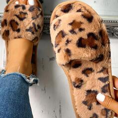 Frauen Stoff Flascher Absatz Pantoffel mit Pelz Schuhe