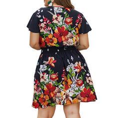 Estampado/Floral Manga Curta Evasê Comprimento do joelho Casual/Elegante/Tamanho positivo Vestidos