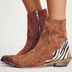 Femmes PU Talon bas Chaussures plates Bout fermé Bottes avec La copie Animale Zip chaussures