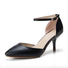 Frauen Kunstleder Stöckel Absatz Sandalen Absatzschuhe Geschlossene Zehe mit Kristall Schnalle Schuhe