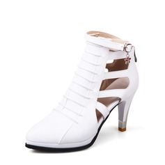 Women's Leatherette Stiletto Heel Sandals Pumps Closed Toe Ankle Boots With Zipper Hollow-out shoes