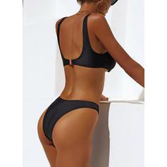 Yksivärinen V-aukko muodikas Bikinit Uima-Asut