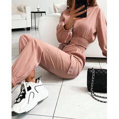 Kulatý Výstřih Dlouhé rukávy Sady top a kalhot