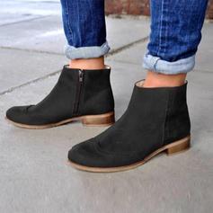 Femmes Suède Talon bas Bottes avec Zip chaussures