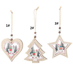 Merry Christmas Hanging Wooden Christmas Pendant Tree Hanging Ornaments