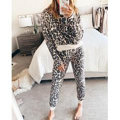 Cappuccio Maniche lunghe Leopardo Sexy Set di top e pantaloni