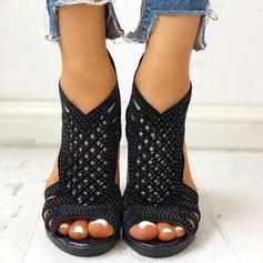 Női PU Chunky sarok Magassarkú Peep Toe -Val Hálós ruha cipő
