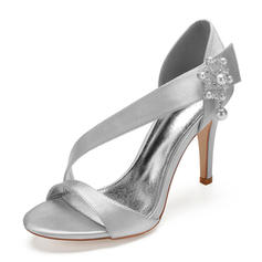 Women's Silk Like Satin Stiletto Heel Peep Toe Pumps Sandals With Imitation Pearl Rhinestone Pearl Button Velcro
