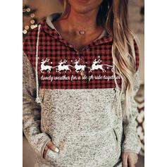 Tierdruck Gitter Taschen Lange Ärmel Weihnachts-Sweatshirt