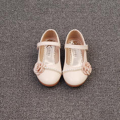 Girl's Microfiber Leather Flat Heel Closed Toe Flats Flower Girl Shoes With Imitation Pearl Satin Flower Velcro