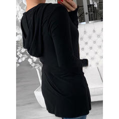Solid Long Sleeves Casual Knit T-shirt