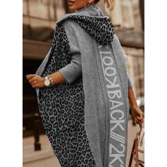 Stampa Blocchi di colore leopardo Cappuccio Casual Lungo Cardigan
