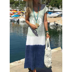 Print/Color Block Short Sleeves Shift Casual/Vacation Maxi Dresses