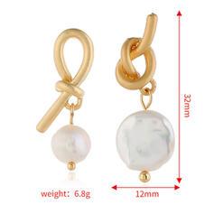 Bow Shaped Alloy Imitation Pearls Women's Earrings
