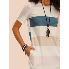 Color-block Short Sleeves Shift Above Knee Casual Dresses