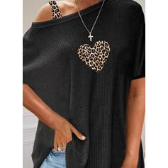 λεοπάρδαλη Καρδιά Félvállas Rövidujjú Hétköznapokra robić na drutach Μπλούζες