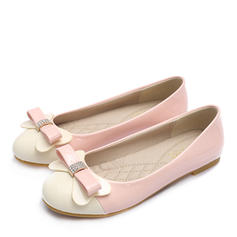 Femmes Cuir verni Talon plat Chaussures plates Bout fermé avec Strass Bowknot chaussures