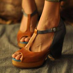 Kvinder PU Stor Hæl Pumps Kigge Tå med Spænde sko