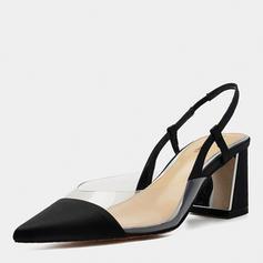 Femmes Soie comme du satin Talon bottier Sandales Bout fermé avec Élastique chaussures