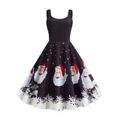 Estampado Sem mangas Evasê Comprimento do joelho Vintage/Natal/Festa/Elegante Vestidos