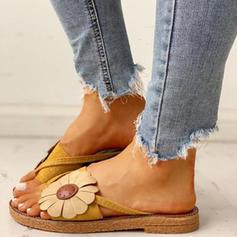 Mulheres Tecido Sem salto Sandálias Sem salto Peep toe com Flor sapatos