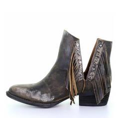 Women's PU Low Heel Boots With Rivet Tassel shoes