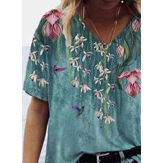 Floral V-Neck Short Sleeves T-shirts