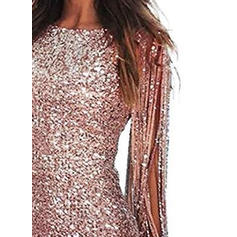 Sequins Long Sleeves Sheath Knee Length Party Dresses