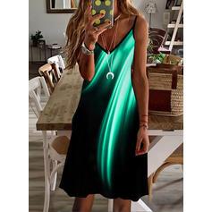 Gradient Sleeveless Shift Above Knee Casual Slip Dresses