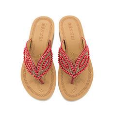 Femmes Similicuir Talon plat Sandales Chaussures plates Escarpins Chaussons avec Perle d'imitation chaussures