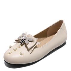 Frauen Kunstleder Flascher Absatz Flache Schuhe Geschlossene Zehe mit Bowknot Nachahmungen von Perlen Schuhe