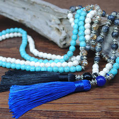 Fashionable Natural Stone Crystal With Tassels Women's Fashion Necklace