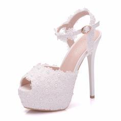 Women's Leatherette Spool Heel Peep Toe Platform Pumps With Applique