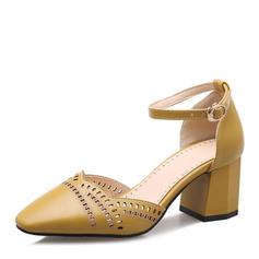 Femmes Similicuir Talon bottier Sandales Escarpins Bout fermé Mary Jane avec Boucle chaussures